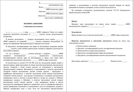 Составление исковых заявлений по наследственным правоотношениям